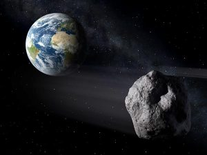 An artist's conception of DA 14, the asteroid expected to whizz past Earth February 15 on the closest approach in history.
